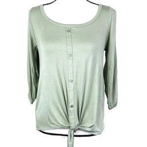 French Laundry Green 3/4 Open Sleeve Front Tie Top